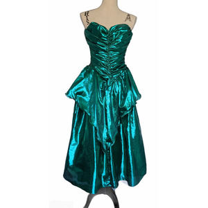 Vintage 90s Contempo Casuals Green Prom Dress